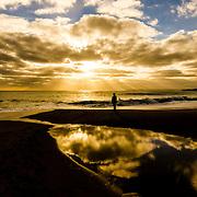Sunlight on a Cornish beach. Praa Sands.