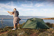 Camping, Men, Women, Pointing, Discovery, Tent, Water's Edge,
