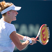 August 19, 2014, New Haven, CT:<br /> Alison Riske hits a backhand during a match against Flavia Pennetta on day five of the 2014 Connecticut Open at the Yale University Tennis Center in New Haven, Connecticut Tuesday, August 19, 2014.<br /> (Photo by Billie Weiss/Connecticut Open)