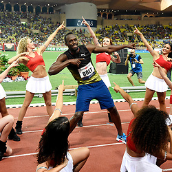Usain Bolt of Jamaica competes in 100m during the IAAF Diamond League Meeting Herculis