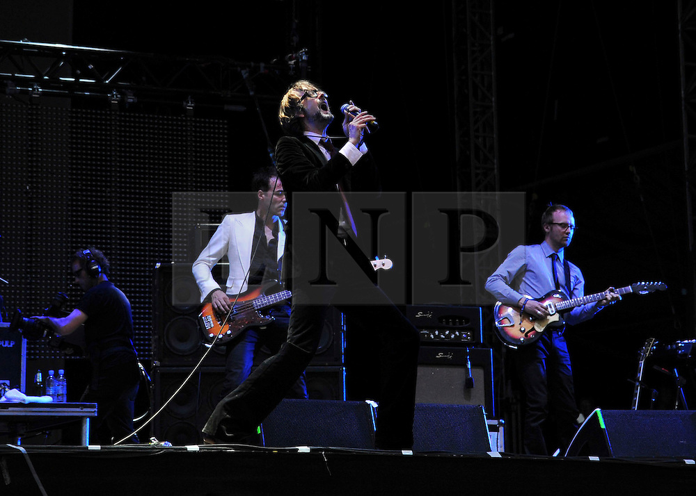 © licensed to London News Pictures. LONDON UK  03/07/11.Pulp perform at Day 3 of the Wireless Festival in Hyde Park London saw thousands of music fans enjoying the sunshine and the music . Please see special instructions for usage rates. Photo credit should read ALAN ROXBOROUGH/LNP