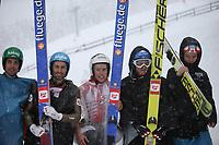 Kombinert , SEEFELD,AUSTRIA,31.JAN.16 - NORDIC SKIING, NORDIC COMBINED, SKI JUMPING - FIS World Cup, Nordic Triple, normal hill, men. Image shows Philipp Orter, Wilhelm Denifl, Franz-Josef Rehrl, Bernhard Gruber (AUT) and Mikko Kokslien (NOR). <br /> <br /> Norway only