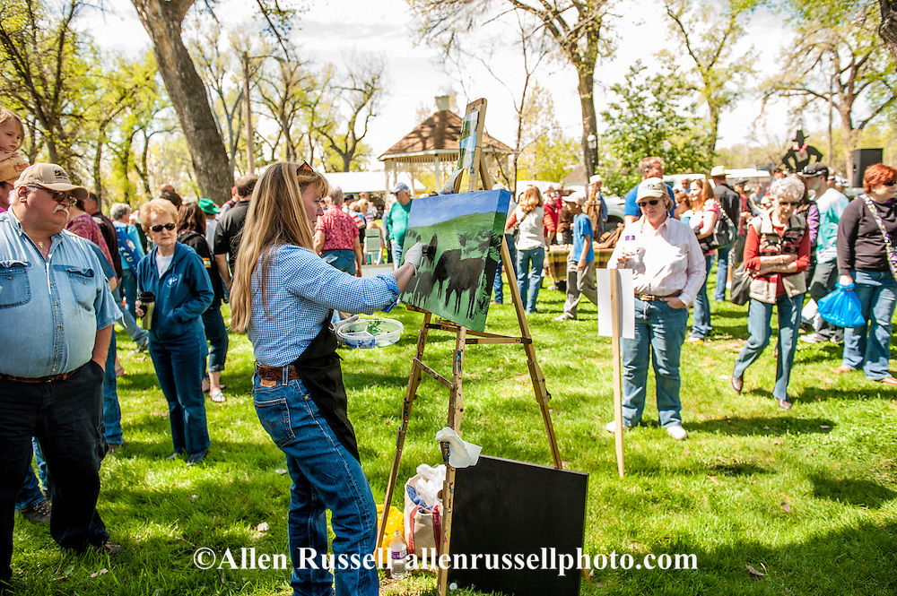 Artist Betsey Hurd Painting At Quick Draw Art Show At Miles City