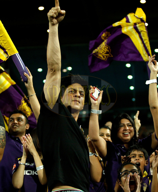 Sharukh Khan owner of Kolkatta Knight Riders during match 70 of the the Indian Premier League ( IPL) 2012  between The Pune Warriors India and the Kolkata Knight Riders held at the Subrata Roy Sahara Stadium, Pune on the 19th May 2012..Photo by Sandeep Shetty/IPL/SPORTZPICS