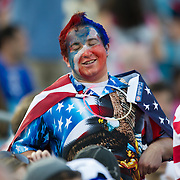May 26 2012: A dressed up fan cheers on the USA team during the U.S. Men's National Soccer Team game against Scotland at Everbank Field in Jacksonville, FL. At halftime USA lead Scotland 2-1.
