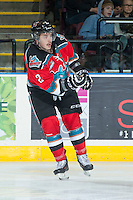 KELOWNA, CANADA - NOVEMBER 30: Jesse Lees #2 of the Kelowna Rockets makes a pass against the Kamloops Blazers on November 30, 2013 at Prospera Place in Kelowna, British Columbia, Canada.   (Photo by Marissa Baecker/Shoot the Breeze)  ***  Local Caption  ***