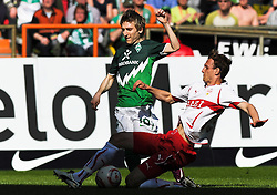 02.04.2011, Weserstadion, Bremen, GER, 1.FBL, Werder Bremen vs VfB Stuttgart, im Bild Marko Marin (Bremen #10, links), Georg Niedermeier (Stuttgart #6, rechts)   EXPA Pictures © 2011, PhotoCredit: EXPA/ nph/  Frisch       ****** out of GER / SWE / CRO  / BEL ******