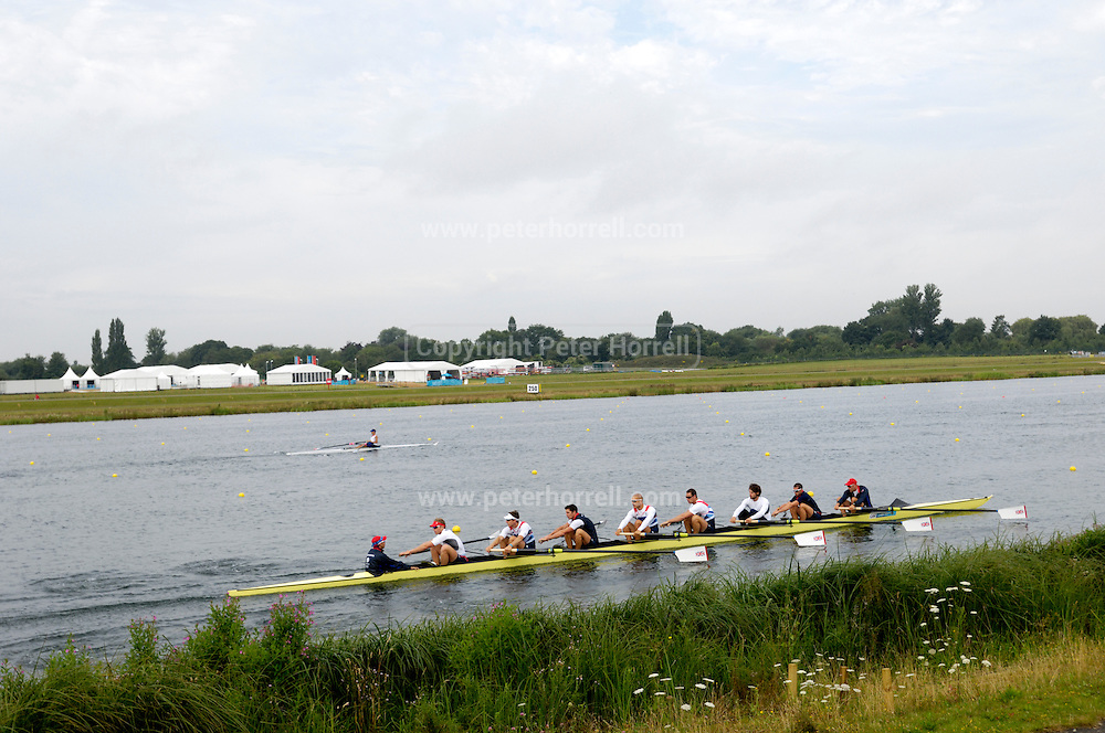 UK, August 1 2012: Team GB Men's Eight warm up before the start of the day's racing at Eton Dorney.  Copyright 2012 Peter Horrell.