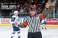 KELOWNA, CANADA - OCTOBER 14: Referee Brett Iverson stands on the ice at the Kelowna Rockets against the Saskatoon Bladeson October 14, 2016 at Prospera Place in Kelowna, British Columbia, Canada.  (Photo by Marissa Baecker/Shoot the Breeze)  *** Local Caption *** Brett Iverson;