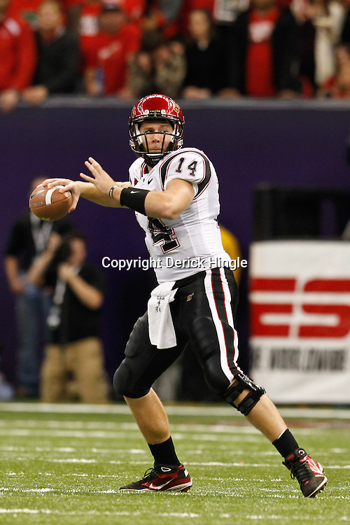 December 17, 2011; New Orleans, LA, USA; San Diego State Aztecs quarterback Ryan Lindley (14) against the Louisiana-Lafayette Ragin Cajuns during the first quarter of the New Orleans Bowl at the Mercedes-Benz Superdome.  Mandatory Credit: Derick E. Hingle-US PRESSWIRE