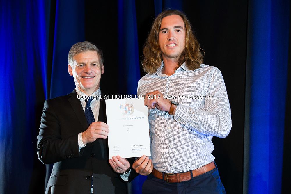 Cameron Webster with Rt Hon Bill English, 2017 Waikato Prime Minister's Scholarship Certificate Presentation Evening, Claudelands, Hamilton, New Zealand. Thursday 27 April 2017. © Copyright Photo: Stephen Barker / www.photosport.nz