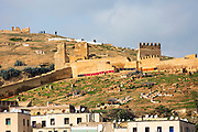 FEZ, MOROCCO 1ST FEBRUARY 2018 - Old ruined walls surrounding Fez Medina, Middle Atlas Mountains, Morocco.