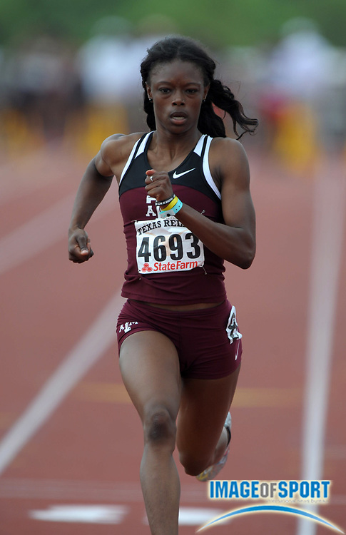Mar 30, 2012; Austin, TX, USA; LaKeidra Stewart of Texas A&M runs 11.76 in a womens 100m heat in the 85th Clyde Littlefield Texas Relays at Mike A. Myers Stadium.