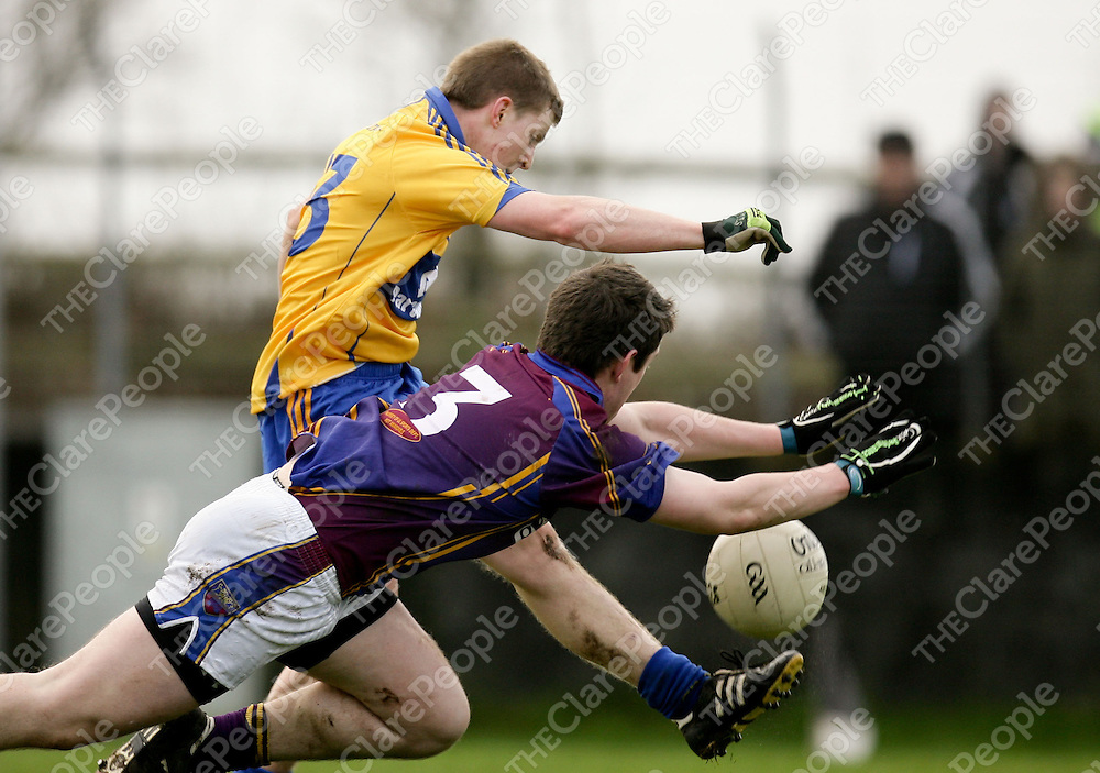 08.01.12<br /> McGrath Cup Football 2012, Clare verses UL, Doonbeg Co. Clare. Clare's Podge Collins in action against Ul's Donagh O'Sullivan. Pic Alan Place Press 22.