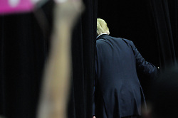 Republican presidential candidate Donald Trump walks of the stage in Hershey, in Central Pennsylvania, four days before the U.S. General Elections.