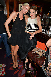Left to right, the HON.SOPHIA HESKETH and FUSCHIA KATE SUMNER at a dinner to celebrate the launch of Genetic - Liberty Ross hosted by Liberty Ross and Ali Fatourechi at Annabel's, 44 Berkeley Square, London on 3rd September 2014.