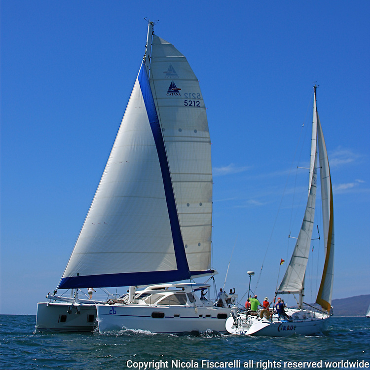 The sail boats participate in 2009 Regatta    of the coast of La Cruz Mexico.