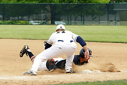 02 June 2018: 12 dives back, 11 tries to tag.  O'Fallon Panthers v Normal West Wildcats at Illinois Wesleyan University's Jack Horenberger Field for the IHSA 4 A Baseball Sectional in Bloomington Illinois