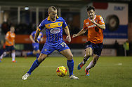 James Wesolowski of Shrewsbury Town (left) is holding off Jonathan Smith of Luton Town during the Sky Bet League 2 match at Kenilworth Road, Luton<br /> Picture by David Horn/Focus Images Ltd +44 7545 970036<br /> 08/01/2015