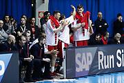Esultanza panchina Armani Milano, EA7 EMPORIO ARMANI OLIMPIA MILANO vs VALENCIA BASKET, EuroLeague 2017/2018, PlalaDesio Desio 22 marzo 2018 FOTO: Bertani/Ciamillo