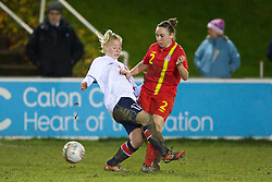 NEWTOWN, WALES - Friday, February 1, 2013: Wales' Rhian Cleverly in action against Norway during the Women's Under-19 International Friendly match at Latham Park. (Pic by David Rawcliffe/Propaganda)