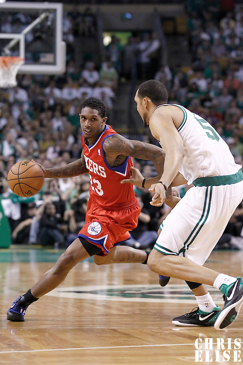 26 May 2012: Philadelphia Sixers point guard Lou Williams (23) drives past Boston Celtics center Ryan Hollins (50) during the Boston Celtics 85-75 victory over the Philadelphia Sixer, in Game 7 of the Eastern Conference semifinals playoff series, at the TD Banknorth Garden, Boston, Massachusetts, USA.