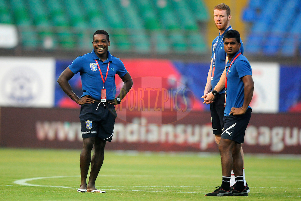 Players from Kerala Blasters FC before the start of match 49 of the Hero Indian Super League between Kerala Blasters FC and Chennaiyin FC held at the Jawaharlal Nehru Stadium, Kochi, India on the 30th November.<br /> <br /> Photo by:  Pal Pillai/ ISL/ SPORTZPICS