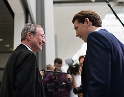 "01.07.2017, Design Center, Linz, AUT, ÖVP, 38. ordentlicher Bundesparteitag, mit Wahl von Bundesminister Kurz zum neuen Bundesparteiobmann, unter dem Motto ""Zeit für Neues - Zusammen neue Wege gehen"". im Bild Außenminister und designierter ÖVP-Chef Sebastian Kurz mit Wirtschaftskammer Österreich Präsident Christoph Leitl (L) // Austrian Foreign Minister Sebastian Kurz and President of the Austrian Economic Chamber Christoph Leitl (L) during political convention of the Austrian People' s Party with election of Sebastian Kurz as the new party leader at Design Centre in Linz, Austria on 2017/07/01. EXPA Pictures © 2017, PhotoCredit: EXPA/ Michael Gruber"
