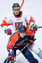 Joseph Doran of USA vs Tomas Mojzis of Czech Republic at IIHF In-Line Hockey World Championships 2011 Top Division Gold medal game between National teams of Czech republic and USA on June 25, 2011, in Pardubice, Czech Republic. (Photo by Matic Klansek Velej / Sportida)