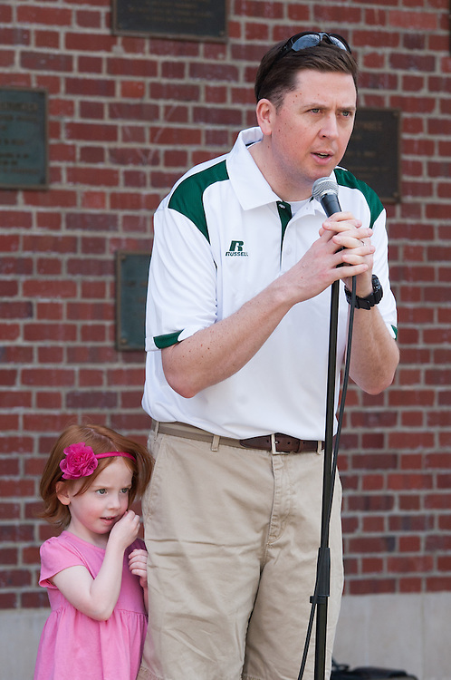 Vice President of Student Affairs, Ryan Lombardi, address the volunteers during the kick off of Athens Beautification Day. Photo by Elizabeth Held