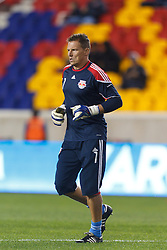 Oct 20, 2011; Harrison, NJ, USA;  New York Red Bulls goalkeeper Frank Rost (1) warms up before the game against the Philadelphia Union at Red Bull Arena. New York defeated Philadelphia 1-0. Mandatory Credit: Jason O. Watson-US PRESSWIRE