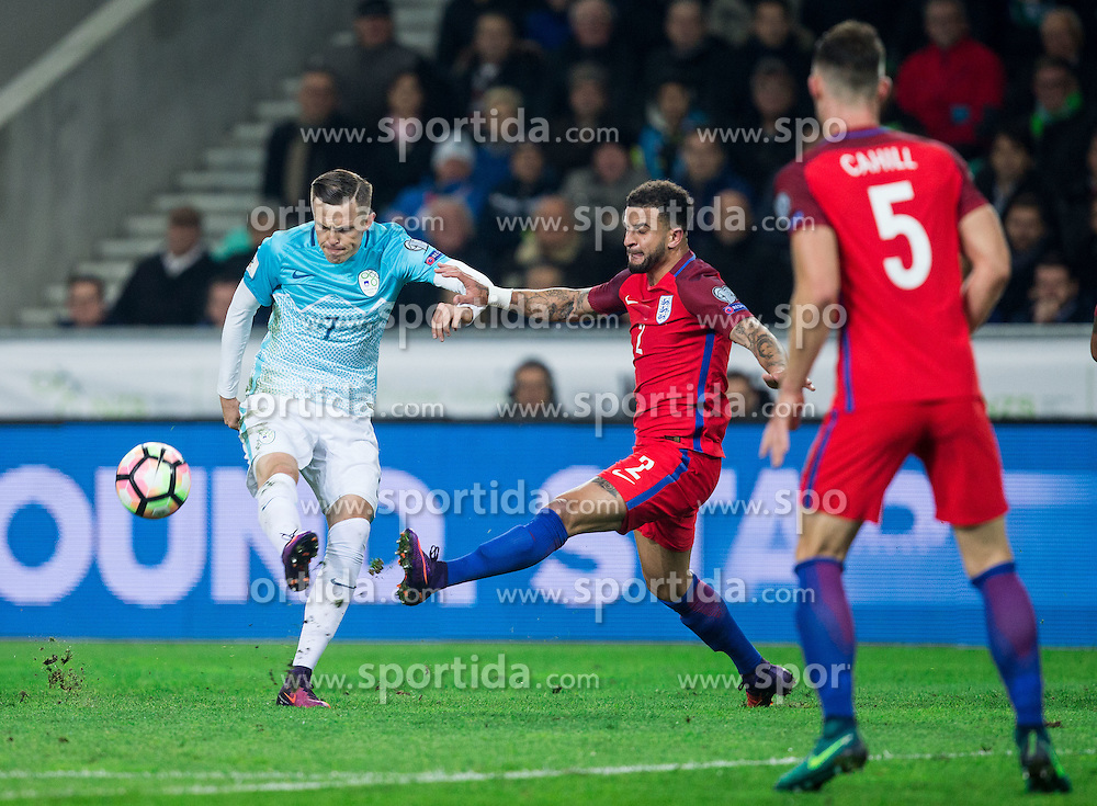 Josip Ilicic of Slovenia vs Kyle Walker of England during football match between National teams of Slovenia and England in Round #3 of FIFA World Cup Russia 2018 Qualifier Group F, on October 11, 2016 in SRC Stozice, Ljubljana, Slovenia. Photo by Vid Ponikvar / Sportida