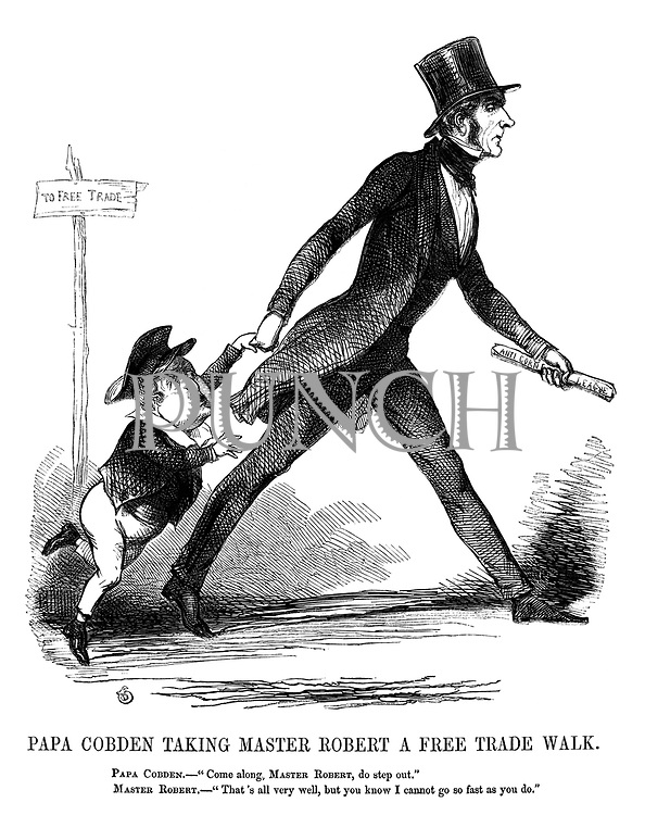 "Papa Cobden Taking Master Robert A Free Trade Walk. Papa Cobden. - ""Come along, Master Robert, do step out."" Master Robert. - ""That's all very well, but you know I cannot go so fast as you do."""