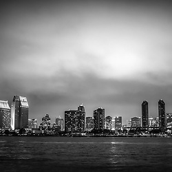 San Diego cityscape at night black and white phoo with skyscraper office buildings along San Diego Bay. Image is high resolution and was taken in 2012. For my full portfolio visit http://www.velgos.com