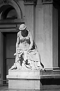 Sculptural details on the facade of the City Hall building in downtown Philadelphia, Pennsylvania at the intersection of Market Street and Juniper Street.