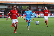 Harry Pickering  and Alfie May   during the EFL Sky Bet League 2 match between Crewe Alexandra and Cheltenham Town at Alexandra Stadium, Crewe, England on 18 January 2020.