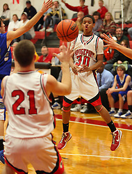 January 18, 2011: HS Boys Varsity Basketball Bridgeport vs. Lewis County. Bridgeport's Jordan Haywood (30) makes a pass to Cullin Cutright (21) against Lewis County. (Photo by: Ben Queen)