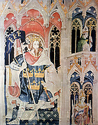 Arthur, 6th century semi-legendary Christian king of Britons. United Britons against Saxons whom he defeated c516 at battle of Badon Hill. After late 14th century tapestry.