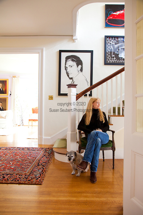 The Portland, Oregon home of Wendy Burden, author of  the memoir, Dead End Gene Pool. The entryway as seen from the dining room.  The portrait is of her cousin Carter Burden and was made by Andy Warhol.