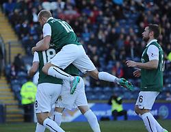 Hibernian's players cele John McGinn scoring their first goal. <br /> Raith Rovers 1 v 2 Hibernian, Scottish Championship game played 24/10/2015 at Starks Park.