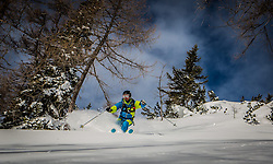 THEMENBILD - ein Freerider im Tiefschnee, aufgenommen am 06. Jänner 2015, Bad Mitterndorf, Österreich // a Freerider in powder, taken on 06. January 2015, Bad Mitterndorf, Austria, EXPA Pictures © 2015, PhotoCredit: EXPA/ Dominik Angerer