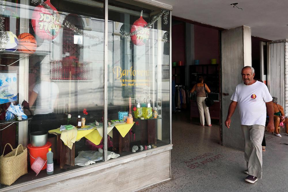 Shop window display in Camaguey city, Camaguey, Cuba.