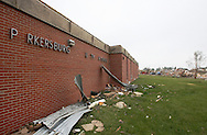 The front of the Aplington-Parkersburg High School in Parkersburg, Iowa on Wednesday June 4, 2008. (Stephen Mally for the New York Times)
