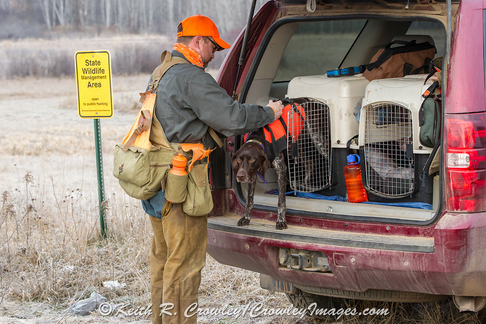 Bob St. Pierre gets ready to hunt pheasants on a Minnesota public hunting area with his German Shorthair Esky.