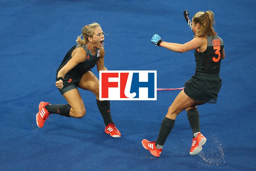 RIO DE JANEIRO, BRAZIL - AUGUST 19:  Kitty van Male (l) of Netherlands celebrates scoring a goal with Xan de Waard during the Women's Gold Medal Match against the Netherlands on Day 14 of the Rio 2016 Olympic Games at the Olympic Hockey Centre on August 19, 2016 in Rio de Janeiro, Brazil.  (Photo by Mark Kolbe/Getty Images)
