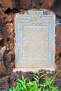 Historical plaque at the Menehune Ditch, Waimea, Island of Kauai, Hawaii