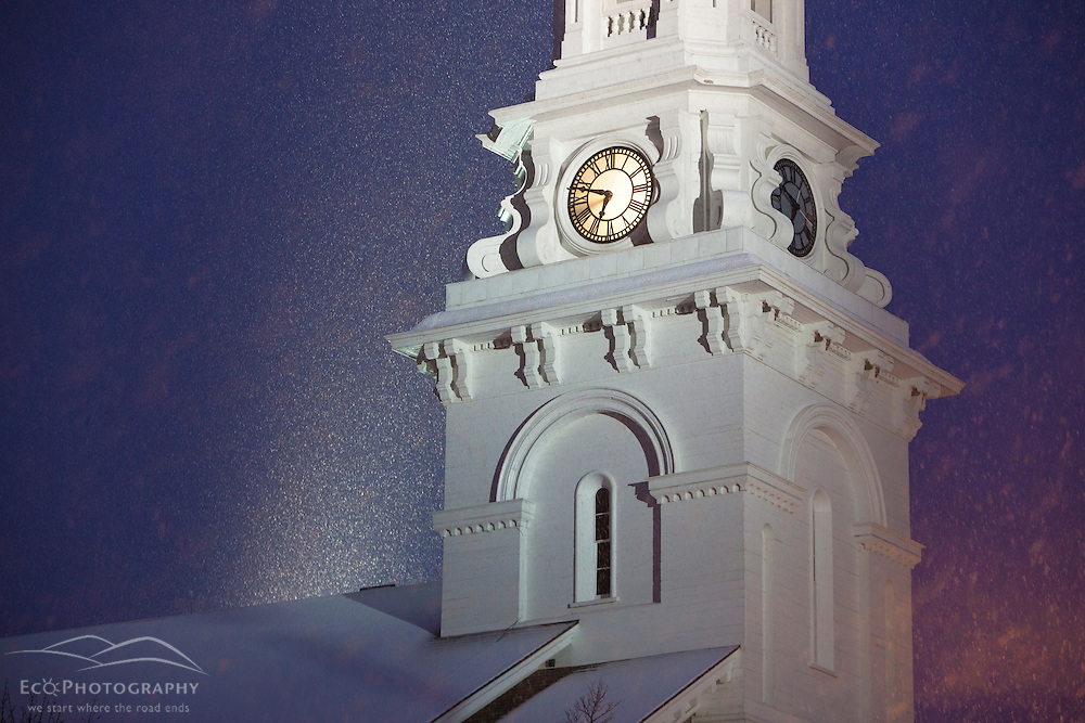 Snow falling in Market Square, Portsmouth, New Hampshire. North Church.