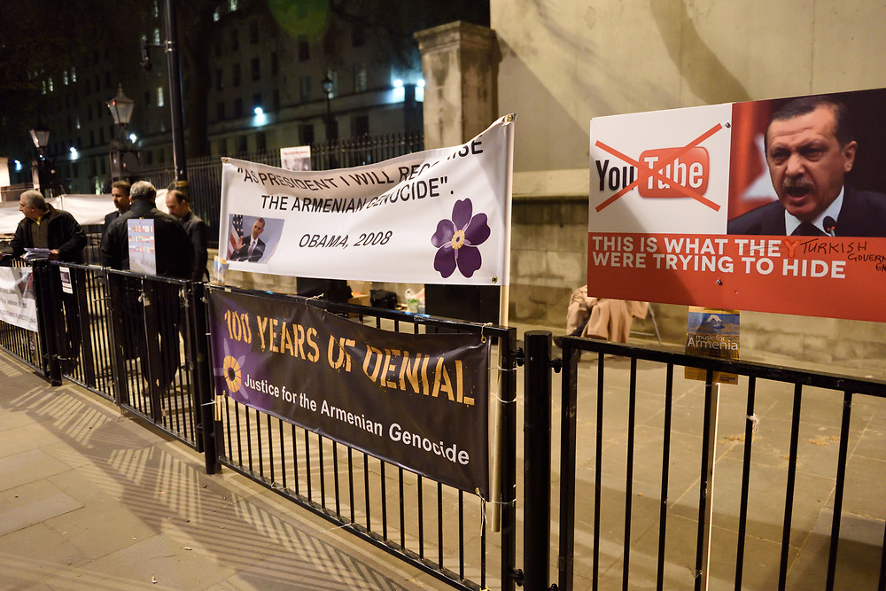 A protest, took place in London near Parliament Square, against, according to protesters, the denial of Armenian Genocide by UK Government on April 22, 2015. Photo by Gili Yaari