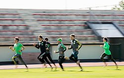 Peter Prevc, Nejc Dezman, Jaka Hvala, Robert Kranjec, Anze Semenic and Cene Prevc during fitness training of Slovenian Ski jumping National A team, on May 6, 2016, in Stadium Kranj, Slovenia.Photo by Vid Ponikvar / Sportida