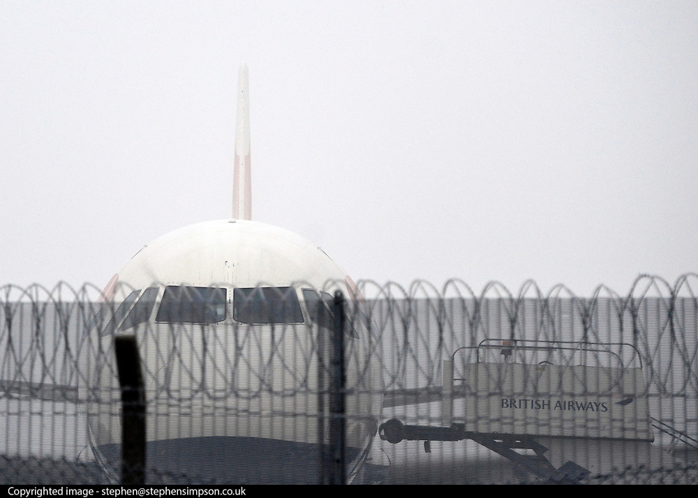 © Licensed to London News Pictures. 12/12/2012. Heathrow, UK A British Airways aircraft sits in the ice and fog on the tarmac. Planes in the fog at Heathrow airport this morning. Heavy fog is causing flights to be delayed and disruption across the country.  Photo credit : Stephen Simpson/LNP